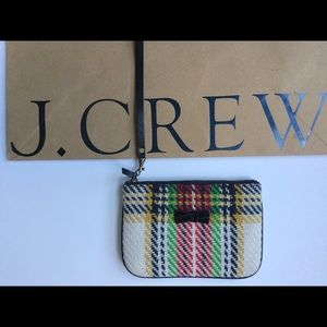 JCREW Plaid Wool zip pouch